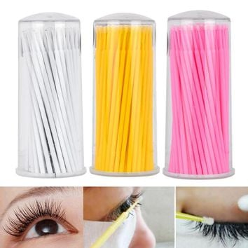 100 PCS/Set Eyelash Extension Supply Regular Cotton Swab Brushes Remover Stick Bar Eyelash Extension Beauty Makeup Tools