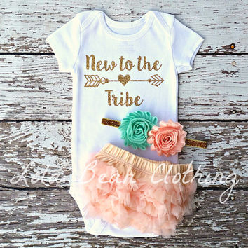 Baby Girl Coming Home Outfit New to the Tribe Bloomers Headband Take Home outfit Bodysuit Set Peach Mint Gold lolabeanclothing Newborn girl
