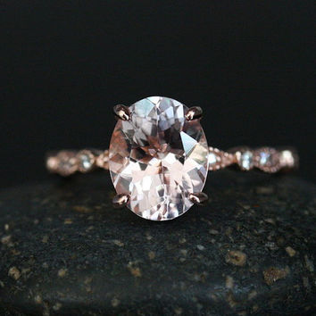 Oval 10x8mm Pink Morganite Engagement Ring with Diamonds in 14k Rose Gold