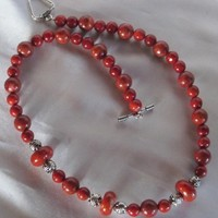 Red Sponge Coral Tibetan Silver Bead Necklace and Bracelet Set
