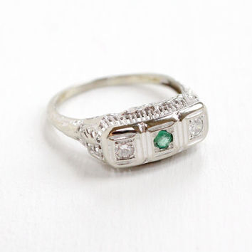 Antique 14k White Gold Diamond and Emerald Filigree Ring - Vintage Art Deco 1920s 1930s Floral Flower Motif Fine Engagement Jewelry