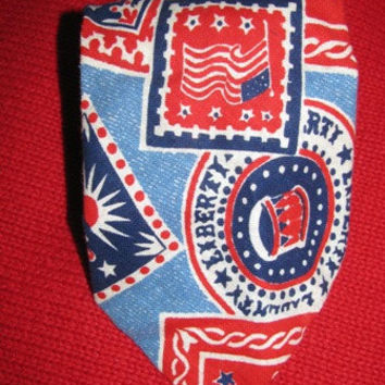 Mens Tie, Stars & Stripes, Red, White, Blue, Patriotic, Liberty, USA Flag, Bicentennial, Memorial Day, July 4th, Mens Suit Tie 88d