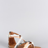 Qupid Dotted Strappy Thong Flat Sandal