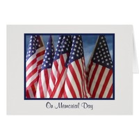 Flags With Clouds Memorial Day Greeting Card
