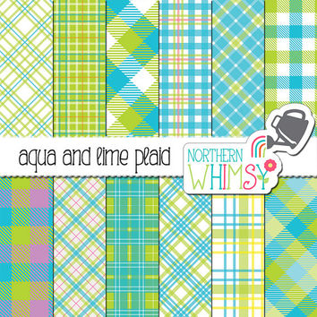 Aqua and Lime Plaid Digital Paper – bright blue and green scrapbook paper with plaid patterns & buffalo checks - commercial use
