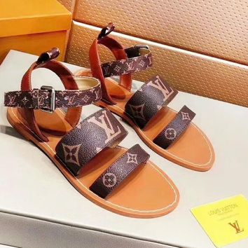LV Louis Vuitton Fashion New Print High Quality Sandals Slippers Shoes Women 1#