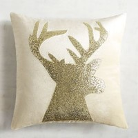 Gold Sequined Reindeer Pillow