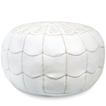 Ikram Design Moroccan Leather Pouf Ottoman