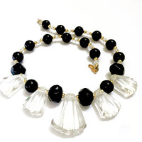 Modernist Black and Clear Lucite Necklace, Clear Molded Dangles, Large Black Faceted & Round Beads, Gold Spacers, Vintage Statement Collar
