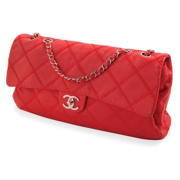 Chanel Classic Red Soft Leather Rectangular Flap Bag