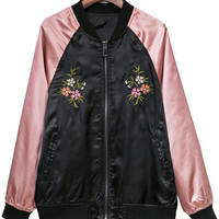 Pink Florals Embroidery Jacket