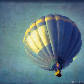 Kids Wall Art, Hot Air Balloon, Blue and Yellow, Photography Fine Art Print, Magical Fantasy, Blue Sky, Nursery Wall Decor