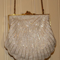 Vintage Mermaid Clutch by Valerie Stevens White Beaded Seashell Purse Bag with Gold Straps