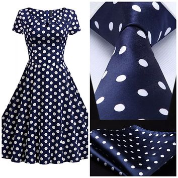 Coordinated Couple - Blue with White Polka Dots