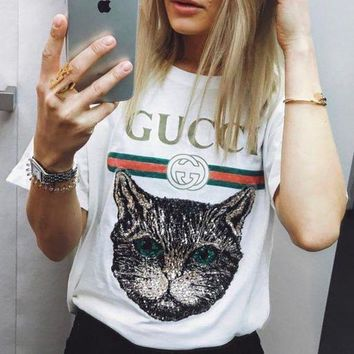 GUCCI Fashhion 2018 Catwalk Model T-Shirt Embroidery Sequin Cat Shirt Tunic Blouse Trending Top White G