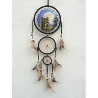 "20"" Long Wolf and Moon Dream Catcher"