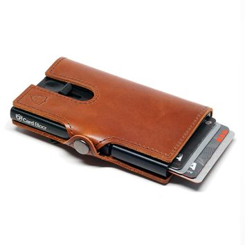 Card Blocr Credit Card Wallet in Brown Leather