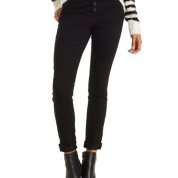 Black Button-Up High Rise Skinny Jeans by Charlotte Russe