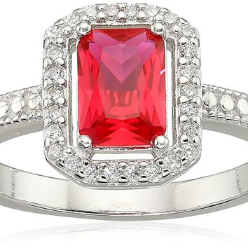 Sterling Silver Genuine and Created Gemstone Emerald-Cut Ring with Clear CZ Halo Ring, Size 7