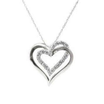 10k White Gold 1/4ct TDW Diamond Double Heart Necklace (I-J, I2-I3) | Overstock.com