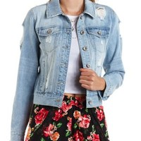 Light Wash Destroyed Denim Jacket by Charlotte Russe
