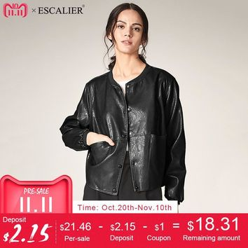 Trendy ESCALIER Autumn Leather Jacket Women Casual Long Sleeve Button Slim Basic jackets 2018 Fashion PU Leather Bomber Coat Femininas AT_94_13