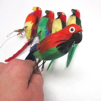 Large Faux Parrot Craft Birds Red Blue Green Yellow White Feathered Bird Ornament For Crafting Millinery Flower Arrangement