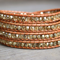 Beaded Leather Wrap Bracelet 4 or 5 Wrap with Gold Polished Crystal Czech Glass Beads on Genuine Tan Leather