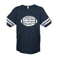 Sassy Frass Most Wonderful Time of the Year Football Season Navy Vintage Jersey Girlie Bright T Shirt