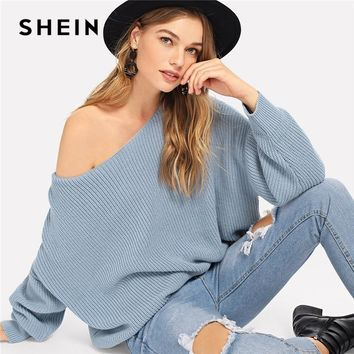 SHEIN Blue V Cut Open Back Boat Neck Casual Plain Backless Long Sleeve Weekend Casual Pullovers Sweaters Women Autumn Sweaters