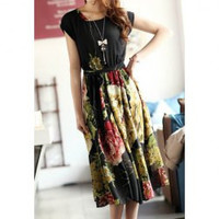 Strappy Beam Waist Flowers Pattern Ruffles Chiffon Color Matching Dress Below The Knee Length For Women