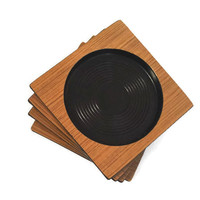 Mid Century Coasters Wood Tone Brown and Black Plastic Vintage Coasters Mid Century Retro Plastic