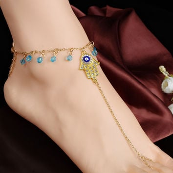 Shiny Stylish Sexy Gift Ladies Cute New Arrival Jewelry Accessory Summer Tassels Crystal Yoga Anklet [7241005703]