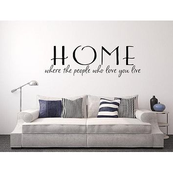 Home Where The People Who Love You Live Wall Decal Custom Wall Custom Quote