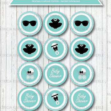 Printable Cupcake Toppers, Breakfast at Tiffany's, Baby Shower, Party Decorations, DIY, Favors, Chic, Fashion, Modern INSTANT DOWNLOAD