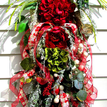 Christmas swag, frosted Christmas wreath, frosted wreath, floral door swag, holiday wreath, winter wreath, shabby chic wreath, red wreath