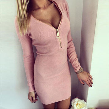 Sexy Club Party Dresses 2016 Deep V-neck Long Sleeve Dress Elegant Slim Package Hip Pencil Dress Warm Winter Dresses Plus Size