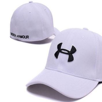 PEAPDQ7 Trendy Under Armour Print Cotton Baseball Cap Hat-White