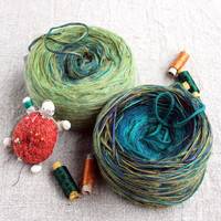 Bayou DIK knitting kit 500g (1.1 lbs) hand blended yarn winding & written instructions for Blanket Throw/Cafe Wrap
