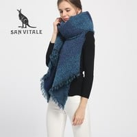SAN VITALE Scarves for Women Shawls Winter Warm Scarf Luxury Brand Soft Fashion Wraps Wool Cashmere Chiffon Islamic Plaids Hijab