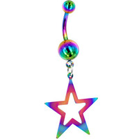 Rainbow Titanium Hollow Star Belly Ring | Body Candy Body Jewelry