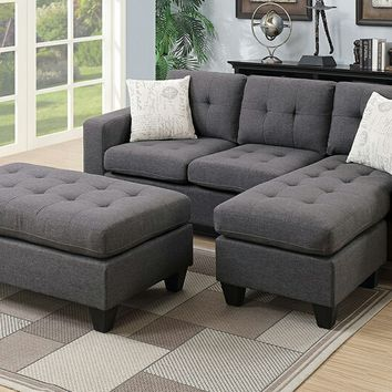2 pc daryl collection Blue grey polyfiber fabric upholstered reversible sectional sofa set with chaise and ottoman