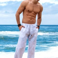 Sauvage White Linen Pants | Designer Activewear Pants