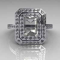 Modern Vintage 950 Platinum 1.0 CT Emerald Cut and Round Pave CZ Double Halo Ring R83-PLATCZ
