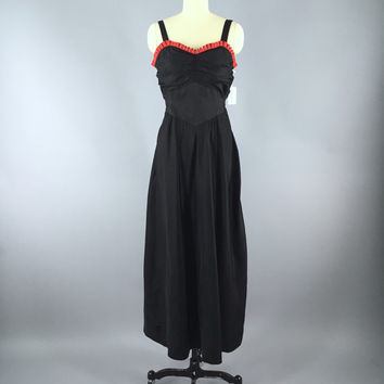 Vintage 1930s Dress / 30s Bias Cut Dress / Black Maxi Dress / 1930 Dress Evening Gown / Long Black Dress / XS Extra Small