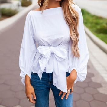 Women Bow Ties Blouses Elegant Round Neck