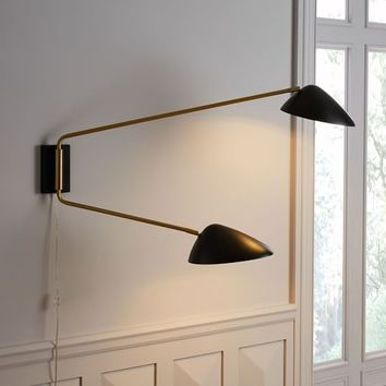 Curvilinear Mid-Century Sconce - Double (Black)