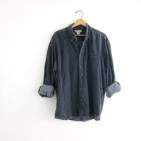 Vintage faded black gray denim Shirt. Long Sleeve Jean Shirt. Oversized Button Up Shirt. Pocket Shirt.