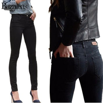 2016 Autumn Spring Women Thin Jeans Stretch Skinny Pencil Pants Black Color Casual Denim Boyfriend Plus size pant