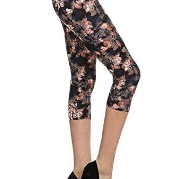 Leggings Depot Capri REGPlus Womens Buttery Popular Prints BAT17
